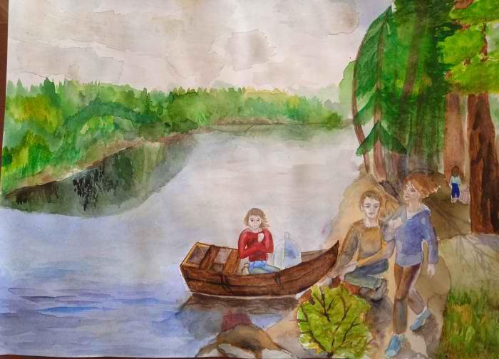 Шикулова Арина,10 лет. На реке Увелка, акварель