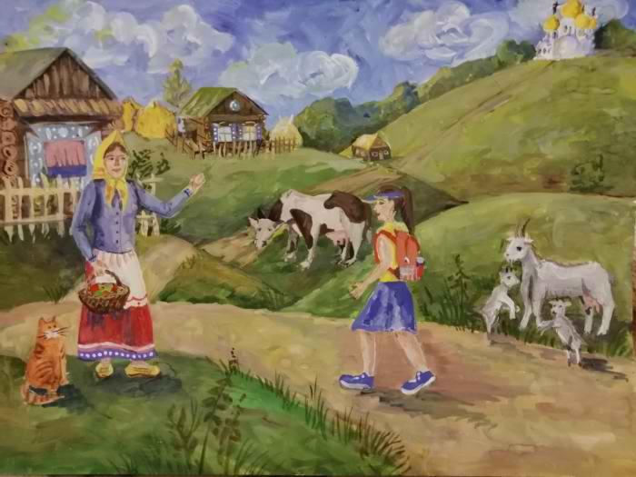 1 место Каткова Александра 12 лет В деревню к бабушке
