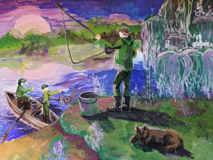 3 место Бочкарева Елизавета 12 лет Вечерняя рыбалка