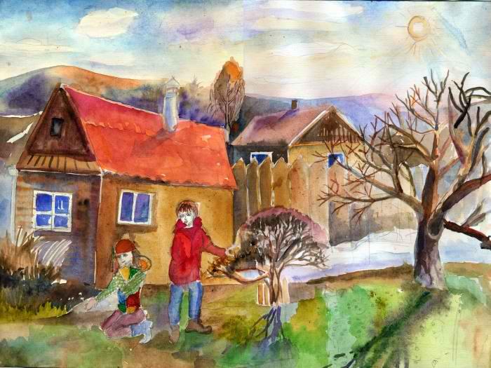 3 место Кобыльникова Мария, 8 лет. Весна у дома